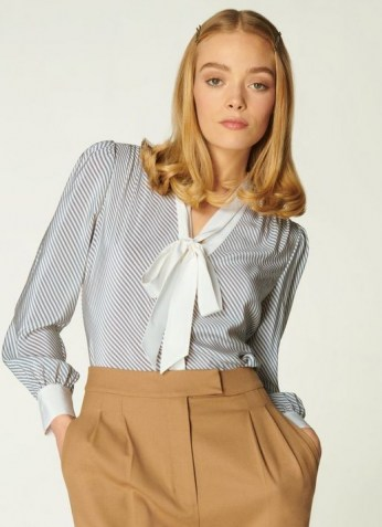 L.K. BENNETT GEORGIA DIAGONAL STRIPE SILK BLOUSE / blue and cream striped pussy bow blouses