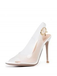GANNI metallic ruched mini bag ~ white rubber peep toe slingbacks