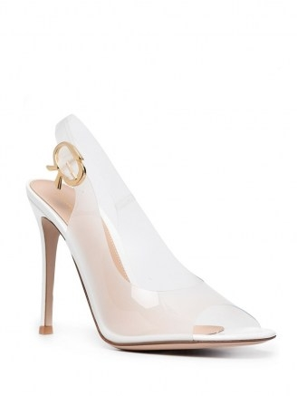 GANNI metallic ruched mini bag ~ white rubber peep toe slingbacks - flipped