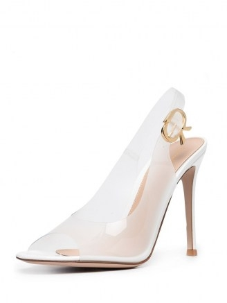 GANNI metallic ruched mini bag ~ white rubber peep toe slingbacks