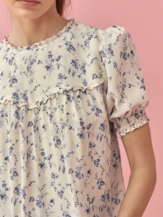 REFORMATION Gloucester Top / floral babydoll tops / puff sleeve blouses for spring and summer 2021