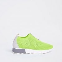 RIVER ISLAND Green knitted runner trainers / bright knit sneakers / sports shoes