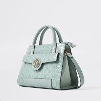 RIBER ISLAND Green RI embossed tote bag / logo stamped handbag