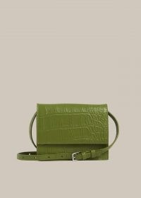 WHISTLES SURI MINI CROC CROSSBODY / green leather crocodile effect bags