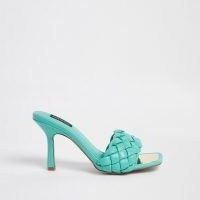 RIVER ISLAND Green wide fit woven mule / quilted mules