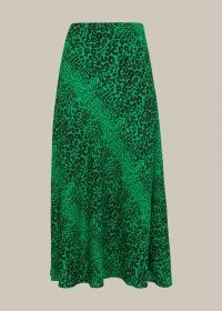 WHISTLES SPECKLED ANIMAL BIAS CUT SKIRT / green midi skirts