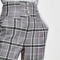 RIVER ISLAND Grey check corset waist cigarette trousers / checked slim fit pants / high waisted