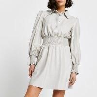 RIVER ISLAND Grey faux leather shirred waist shirt dress
