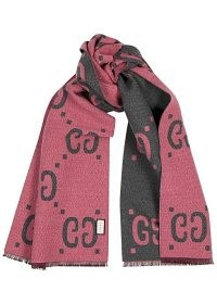 GUCCI Lady Freedom GG-jacquard wool-blend scarf ~ pink and grey designer scarves