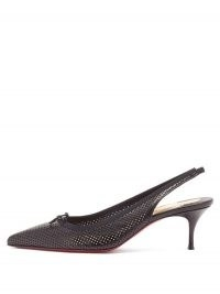 CHRISTIAN LOUBOUTIN Hall Sling 55 perforated-leather slingback pumps in black ~ elegant point toe slingbacks ~ classic footwear