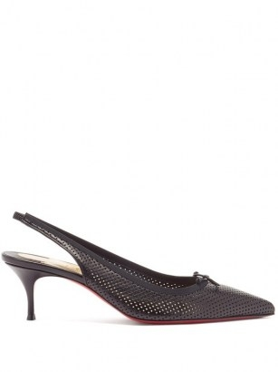 CHRISTIAN LOUBOUTIN Hall Sling 55 perforated-leather slingback pumps in black ~ elegant point toe slingbacks ~ classic footwear - flipped
