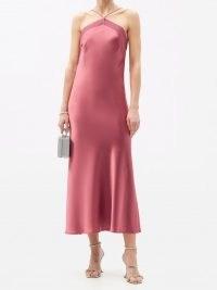 GALVAN Halterneck bias-cut satin slip dress – luxe pink skinny strap dresses – fluid fabric evening fashion