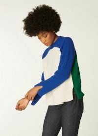 L.K. BENNETT HAYES COLOURBLOCK MERINO-COTTON JUMPER / side slit colour block jumpers