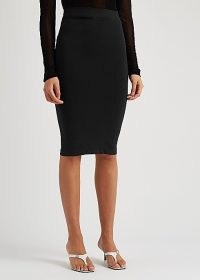 HELMUT LANG Black cut-out pencil skirt | fitted stretch jersey skirts