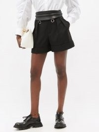 ALEXANDER MCQUEEN High-rise pleated virgin-wool shorts in black