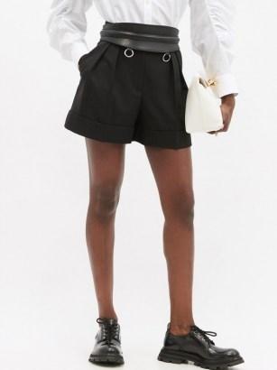 ALEXANDER MCQUEEN High-rise pleated virgin-wool shorts in black - flipped