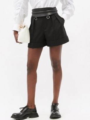 ALEXANDER MCQUEEN High-rise pleated virgin-wool shorts in black