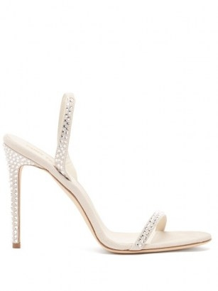 PARIS TEXAS Holly crystal-embellished suede sandals ~ luxe barely there slingback stiletto heels - flipped