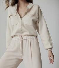 REISS ILAH TWIN POCKET ZIP THROUGH JUMPER NEUTRAL / casual knit top