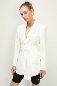 storets Jolie Wide Belted Jacket ~ ivory-white jackets with padded shoulders and a self tie waist