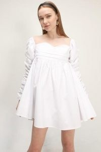 storets Jane Shirred Puff Sleeve Dress   dresses with volume   ruched sleeves