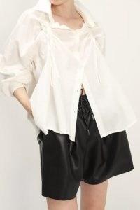 storets Makayla Ruched Puff Shirt   white contemporary shirts   gathered detail fashion