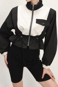 storets Laila Color Block Bomber Jacket ~ monochrome cropped length drawstring waist zip-up front jackets