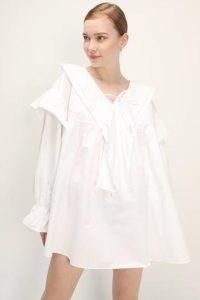 storets Sydney Babydoll Dress   voluminous white dresses   fashion with volume   ruffle front