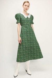 storets Alaia Lace Collar Floral Dress   green floral vintage style dresses   retro fashion   ditsy prints