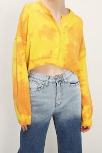 storets Elise Tie Dye Cropped Cardigan | bright knitwear | yellow button-up cardigans | crop hem cardi