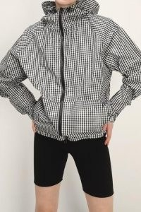storets Lauren Gingham Hoodie Jacket ~ oversized black and white checked front zipper jackets