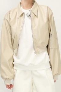 STORETS Holly Pleather Bomber ~ beige faux leather zipper jackets ~ zip detail outerwear