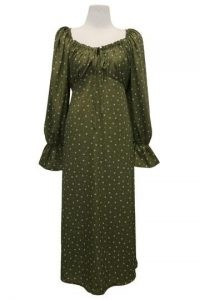 storets Blakely Floral Maxi Dress / olive green empire waist dresses / gathered neck / flared cuffs