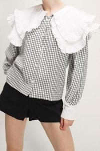 storets Brooklynn Ruffle Collar Accent Blouse / checked blouses with oversized collars