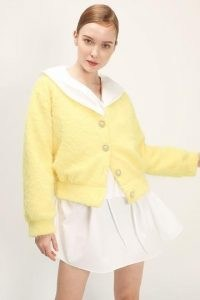 storets Ariella Fuzzy Button Cardigan | fluffy yellow cardigans with statement buttons