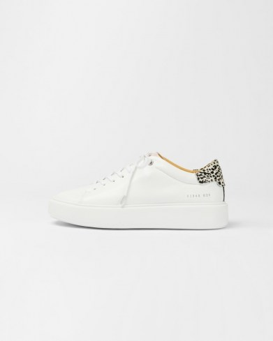 TED BAKER PIIXIEE Imitation cheetah platform trainer / white leather animal detail sneakers - flipped