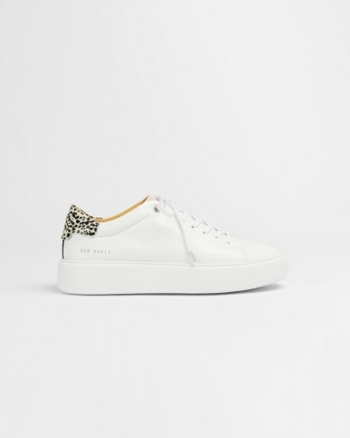 TED BAKER PIIXIEE Imitation cheetah platform trainer / white leather animal detail sneakers