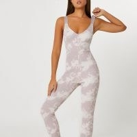 RIVER ISLAND Intimate beige tie dye ribbed unitard / unitards / all-in-one