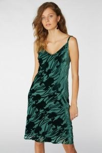 gorman IRIS DEVORE SLIP DRESS / green skinny strap floral dresses / burnout