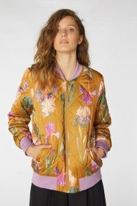 gorman IRIS GOLD BOMBER JACKET / quilted floral front zip jackets