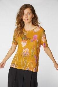 gorman IRIS GOLD LINEN TEE / floral t-shirts