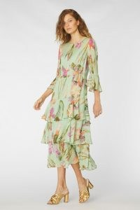 gorman IRIS UPON A DRESS / feminine mint-green floral tiered dresses / spring and summer occasion wear