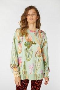 gorman IRIS UPON A SWEATER / mint floral tops / green sweat top