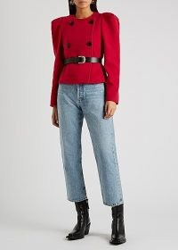 ISABEL MARANT Fileali red double-breasted wool-blend jacket   boxy puff sleeve jackets