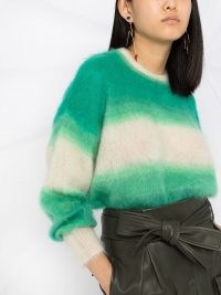 Isabel Marant Étoile Drussell Sweater | green and cream mohair-blend sweaters