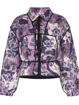Isabel Marant Étoile Haines Floral Print Quilted Jacket ~ purple padded jackets - flipped