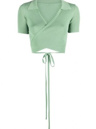 Jacquemus Cache-coeur wraparound cardigan ~ green contemporary cropped cardigans ~ wrap design - flipped