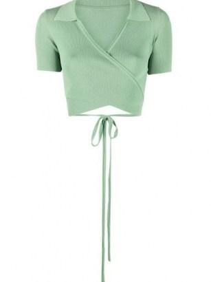Jacquemus Cache-coeur wraparound cardigan ~ green contemporary cropped cardigans ~ wrap design