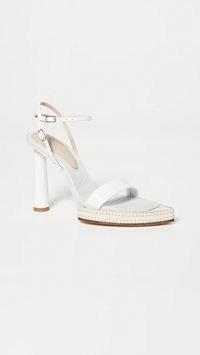 Jacquemus Les Novio Sandals / white leather ankle strap sandal / strappy high heels