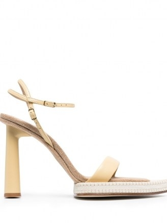 Jacquemus pointed-toe heeled sandals ~ leather and canvas sandal - flipped